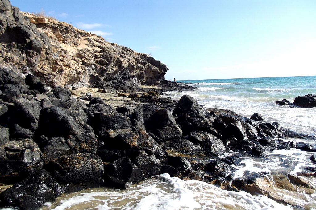 The rocky beaches with crystal clear water in Fuerteventura.