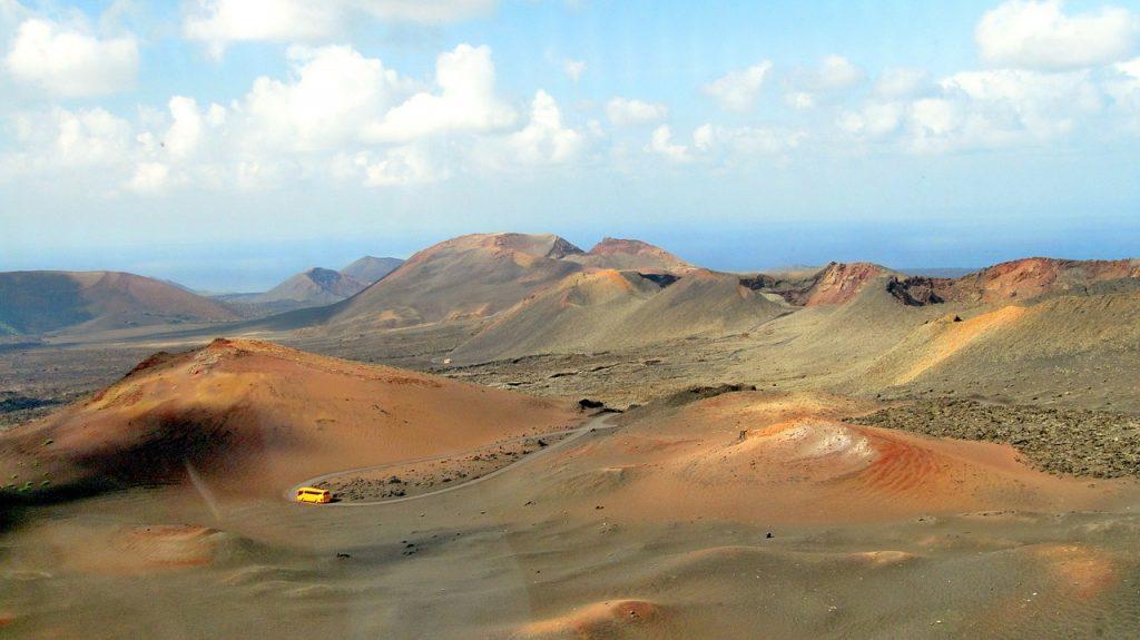 The vast dunes and hills of Timanfaya National Park, in Lanzarote.